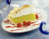 A Slice of Key Lime Pie with Raspberry Sauce