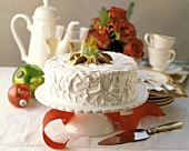 Christmas cake with ginger and cream