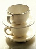 Two Cups and Saucers, Stacked