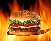 Hamburger on Spatula; Flames