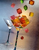 Jello Squares Falling into Cocktail Glass