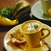 Pumpkin Soup in a Cup with Bread