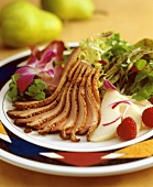 Roasted Duck Breast with Baby Greens and Champagne Raspberries