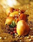 Pears and Cranberries on a Gold Background