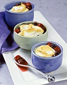 Mixed Berries Baked with a Meringue Topping in Individual Ramekins
