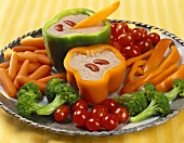 A Colorful Crudite with a Red Bean Dip
