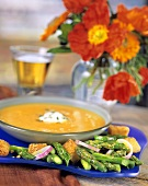 Cold Peach and Cantaloupe Soup Accompanied by an Asparagus Salad