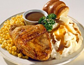 Baked Chicken with Mashed Potatoes and Corn