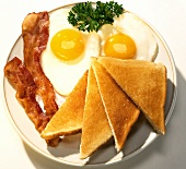 Fried Eggs, Bacon, Toast