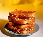 A Stack of Toasted Whole Grain Bread