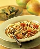 Pasta alla trapanese (Spaghetti with tuna and tomatoes)