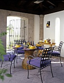 Outdoor Patio Dining Table and Chairs; Set for Dinner