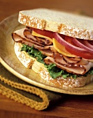 A Turkey Sandwich with Lettuce, Tomato, Onion and Cheese