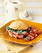 Ham sandwich on corn bread