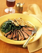 Sliced Steak with Spinach and Quesadilla