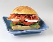 Prosciutto, Mozzarella and Tomato Sandwich on Crusty Roll