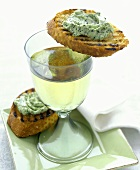 Crostini with Basil Butter