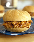 Barbecued Pulled Pork Sandwich on a Roll