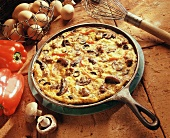 Frittata with Sausage, Mushrooms, Red Bell Pepper and Black Olives