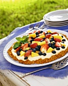 Fruit and Yogurt Pie; Outdoors