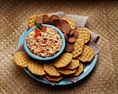 Crackers with Cream Cheese and Cheddar Cheese Spread (not available for advertising use)
