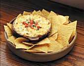 Refried Bean Dip with Melted Cheese; Tortillas (not available for advertising use)