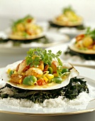 Sauteed Scallops with Succotash on a Scallop Shell