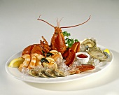 Seafood Platter with Lobsters, Oysters, Clams, Shrimp and Crab Claws