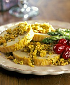 Quorn Turkey with Nut Crunch Topping and Cranberries