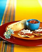 Tortillas with salsa and tamale