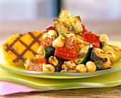 Barbecued vegetables with chick-peas and polenta