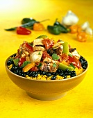 Rice with beans, peppers and barbecued chicken