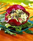 Potato and vegetable salad in a red cabbage leaf