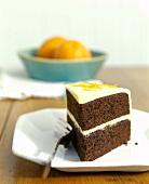 Slice of Chocolate Cake with Orange Zest