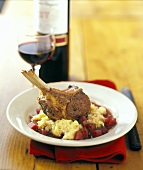 Grilled Lamb Chops on Parsnip Puree with Cabernet Sauce