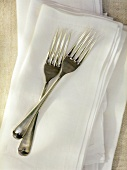 Two Forks Crossed on a Linen Napkin