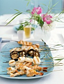 Skewers with Shrimp, Scallops, Mushrooms and Chicken