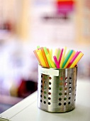 A Canister Filled with Soda Fountain Straws