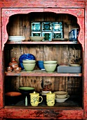Chinese Cups and Bowls in Cabinet