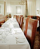 A Row of Set Restaurant Tables
