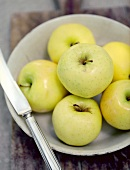 A Bowl of Golden Delicious Apples with Knife