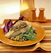 Chicken breast with stuffing and sage