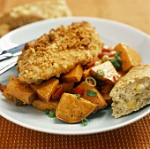 Fried Chicken with Roasted Sweet Potatoes and Corn Bread