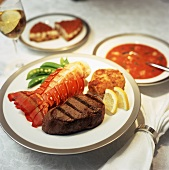 Surf and Turf: Lobster Tail with Steak