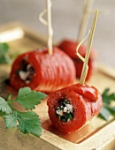 Pepper rolls filled with herb soft cheese