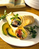 Wraps with crabmeat and avocado
