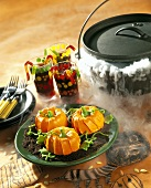 Pumpkin-shaped cakes for Halloween