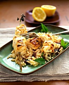 Grilled halibut on orzo