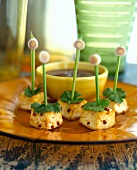 Five tofu and coriander kebabs with dip