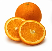 Navel orange, two slices in front